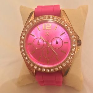 Charming Charlie's studded hot pink watch